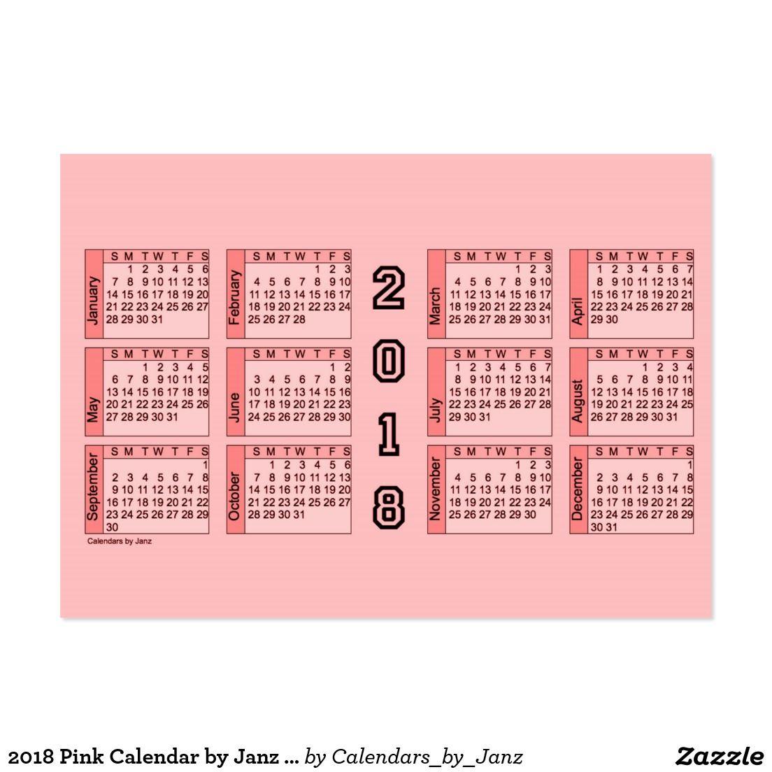 2018 Pink Calendar by Janz Chubby Business Card | Calendars by ...