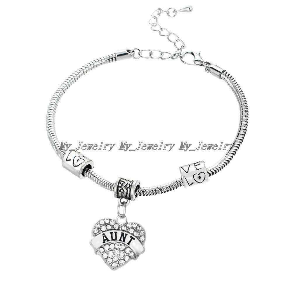 AUNT BRACELET CHIC LOVE HEART CRYSTAL CHARM PENDANT BEADS SILVER TONE BANGLE  #New #Bangle