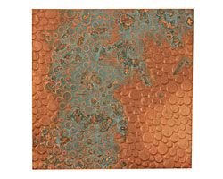 "Lillypilly Azul Pebbles Embossed Patina Copper Sheet 3""x3"", 36 gauge--Supplies: $4.90"