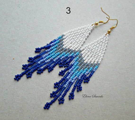 Perles Boucles doreilles indigènes Style Beadwork. par ESavenko