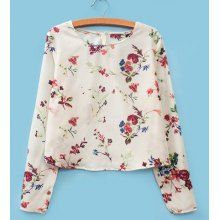 Casual Round Collar Floral Print Long Sleeves Slimming Women's Blouse