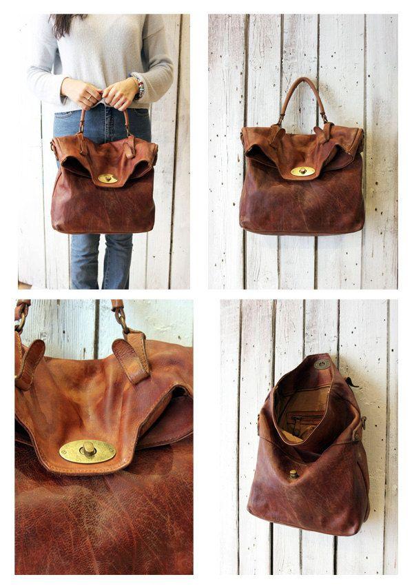 "MAIL BAG 9"" Handmade Italian Leather Messenger Bag di LaSellerieLimited su Etsy"