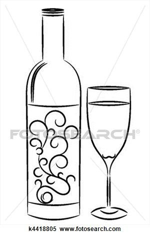 Wine Bottle And Glass Clipart Bottle Drawing Bottle Wine