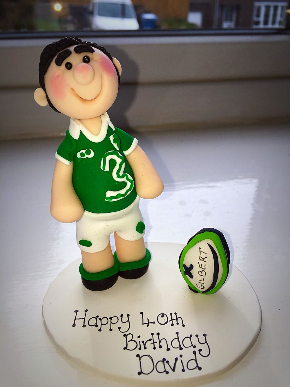 Ireland Rugby Player Birthday Cake Topper Made From Sculpey Clay