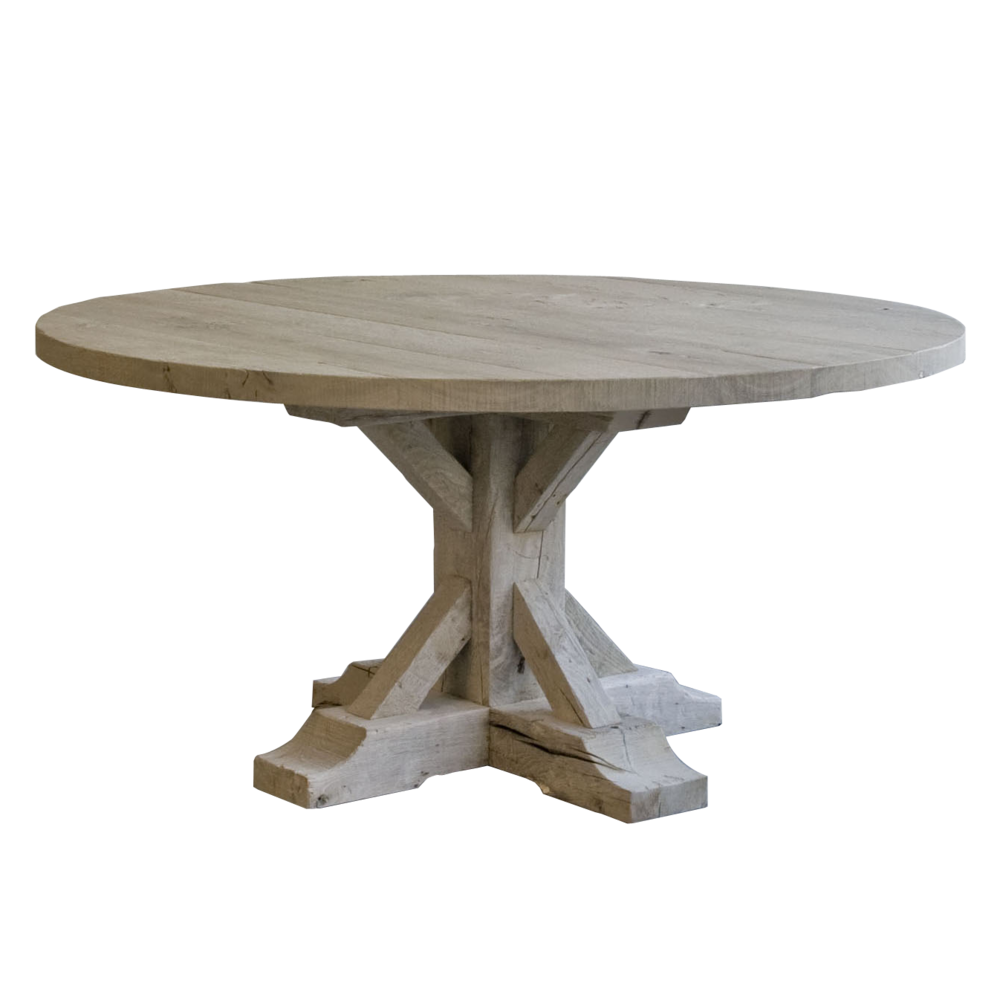 Marron Noir Goes Well With Hugo Dining Table Large Round Rustique Dining Table Oak Weathered Grey Round Farmhouse Table Farmhouse Dining Table Dining Table