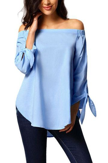 6f275a7aed450b Blue Off The Shoulder 3 4 Length Sleeves Shirt