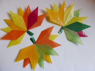 Herbstblätter aus Transparentpapier falten (Anleitung) und Herbstpost II #herbstfensterdekokinder