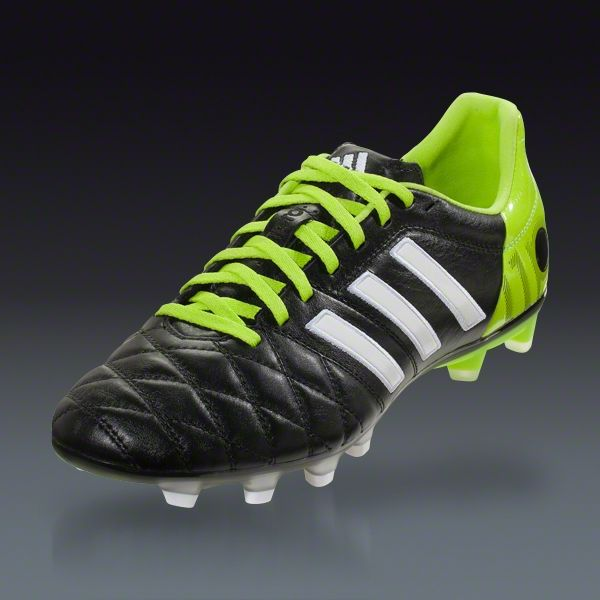 newest 24791 1bd6a adidas adiPure 11Pro TRX FG - miCoach compatible - Black Running  White Solar Slime - Earth Firm Ground Soccer Shoes