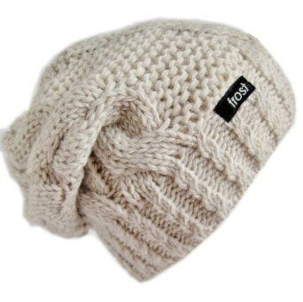 Amazon.com  Frost Hats Winter Hat for Women BEIGE Slouchy Beanie Hat  Knitted Winter Hat Frost Hats Beige  Clothing 6618c155e9e