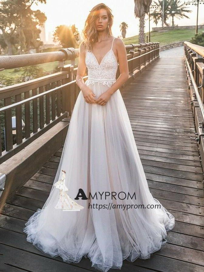 Romantic Spaghetti Straps Boho Wedding Dress Summer Lace Open Back Wedding Gowns Bridal Gowns Amy2847 Summer Wedding Dress Boho Wedding Dress Lace Backless Bridal Gowns