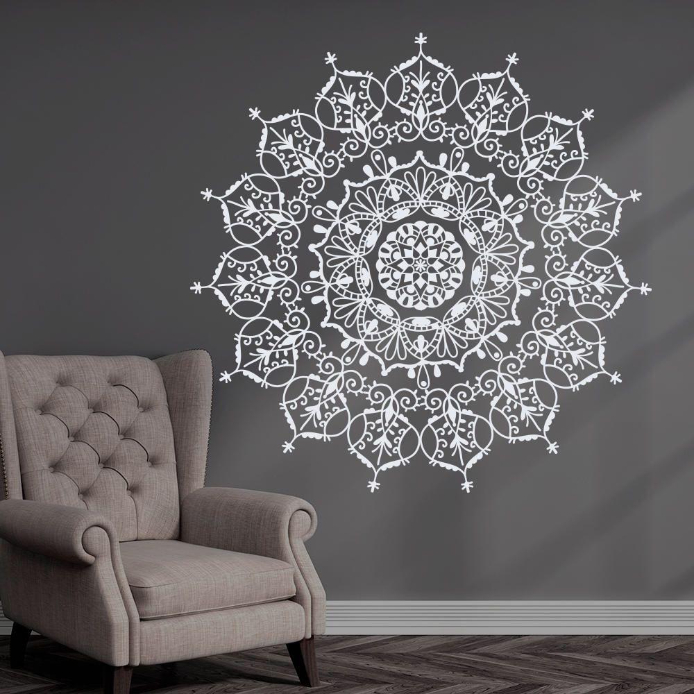 Bohemian Indian Pattern Mandala Wall Decals Floral Vinyl Stickers ...