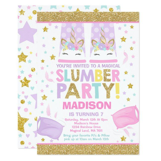 #promo Unicorn Slumber Party Birthday Invitation #magical #unicorn #party #unicorn #afflink #birthday #sleepover #sleepoverparty #slumberparty #girlsbirthdayideas #birthdaysforgirls #sleepoverinvitations #slumberpartyinvitations #invitations #forgirls #sleepoverbirthday #slumberpartybirthday #invites #girlsbirthday