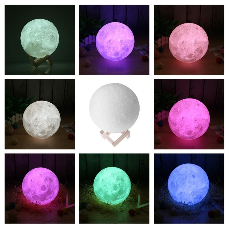 Us 17 56 Feb Only Led Night Light 3d Print Moon Lamp Luna Magic Touch Full Moonlight Portable 7 Colors Change Bab Led Night Light Indoor Lighting Night Light