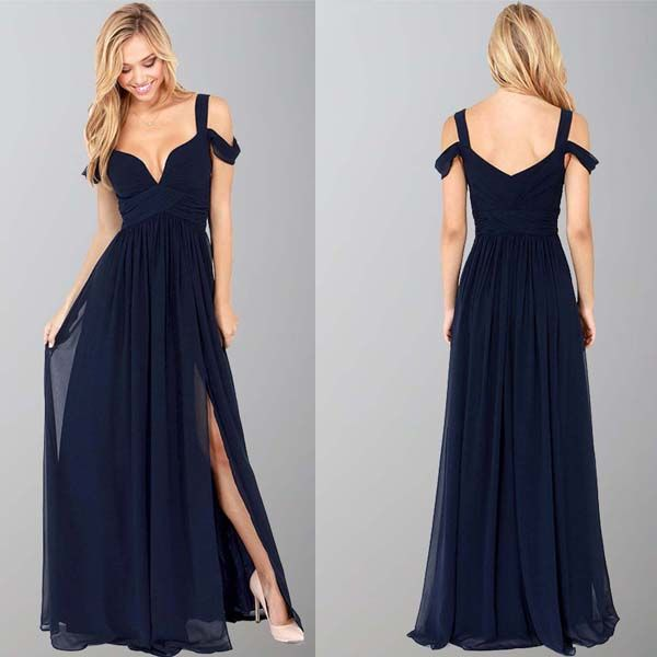 Navy Blue Bridesmaid Gown,Chiffon Prom Dress,Straps Prom Gown,Simple ...