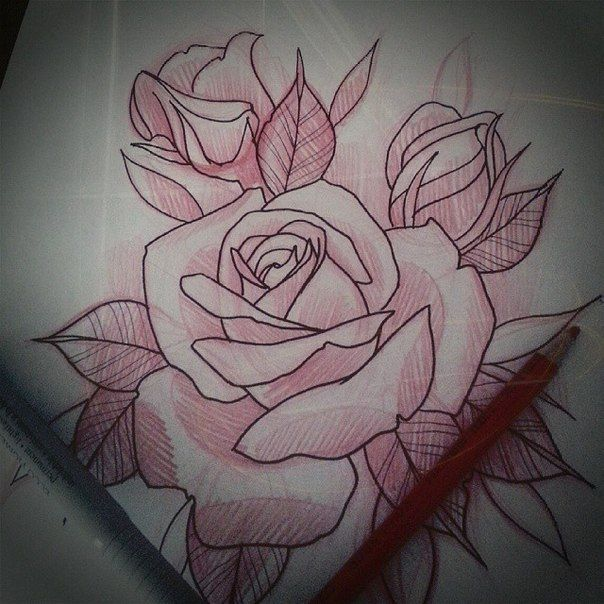Image Result For Neo Traditional Rose Tattoo Flash Neo Traditional Roses Traditional Rose Tattoos Rose Drawing Tattoo