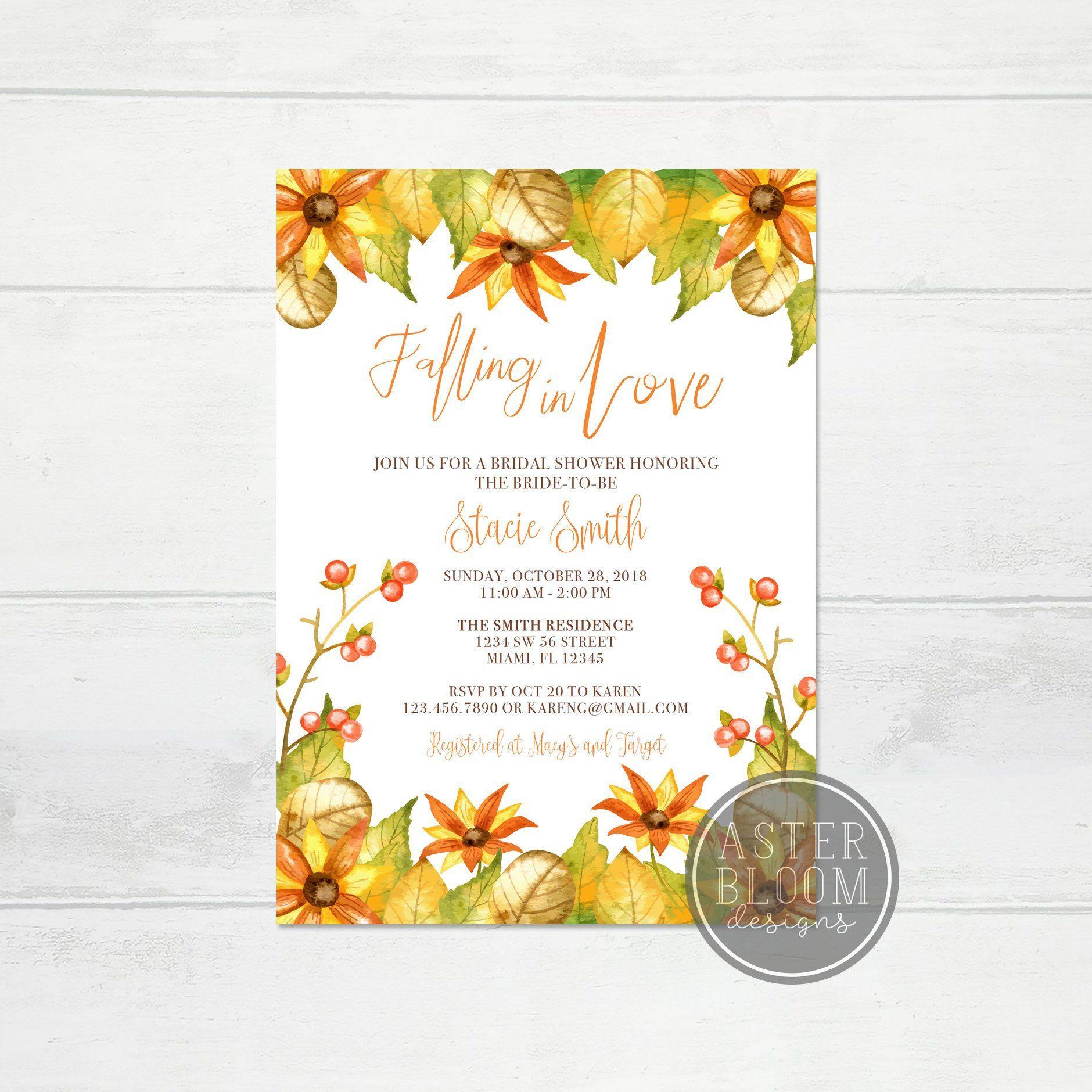 Fall Bridal Shower Invitation, Rustic Sunflower Bridal