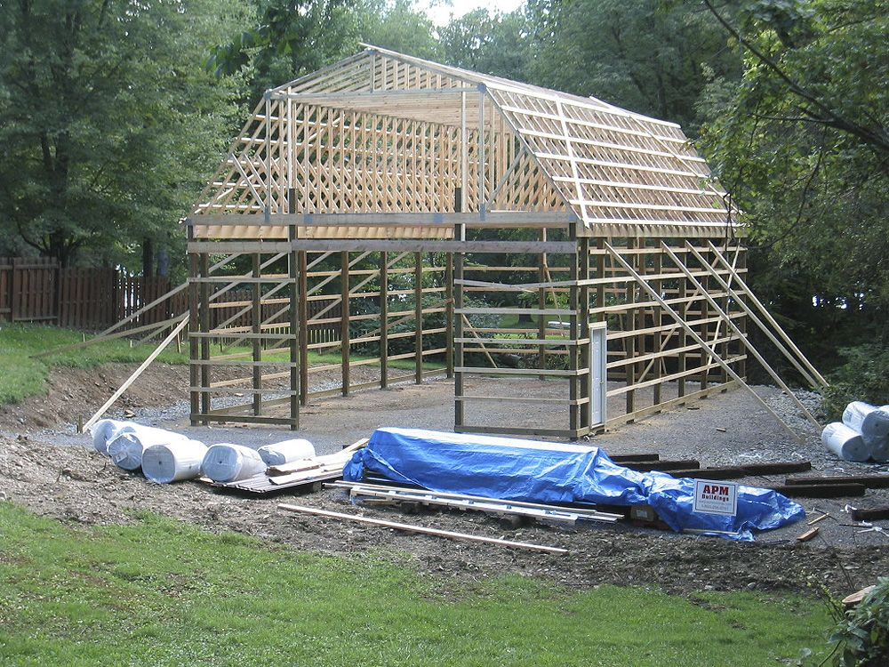 Pin By Charles Pryor On Barn Ideas Gambrel Roof Trusses Gambrel Roof Pole Barn Homes