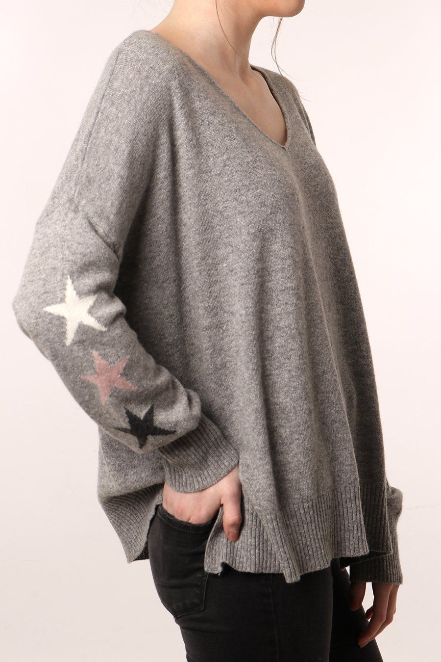 771c1e8ba6c9ed Light Grey Cashmere Blend Jumper with White, Pink & Grey Star Sleeves