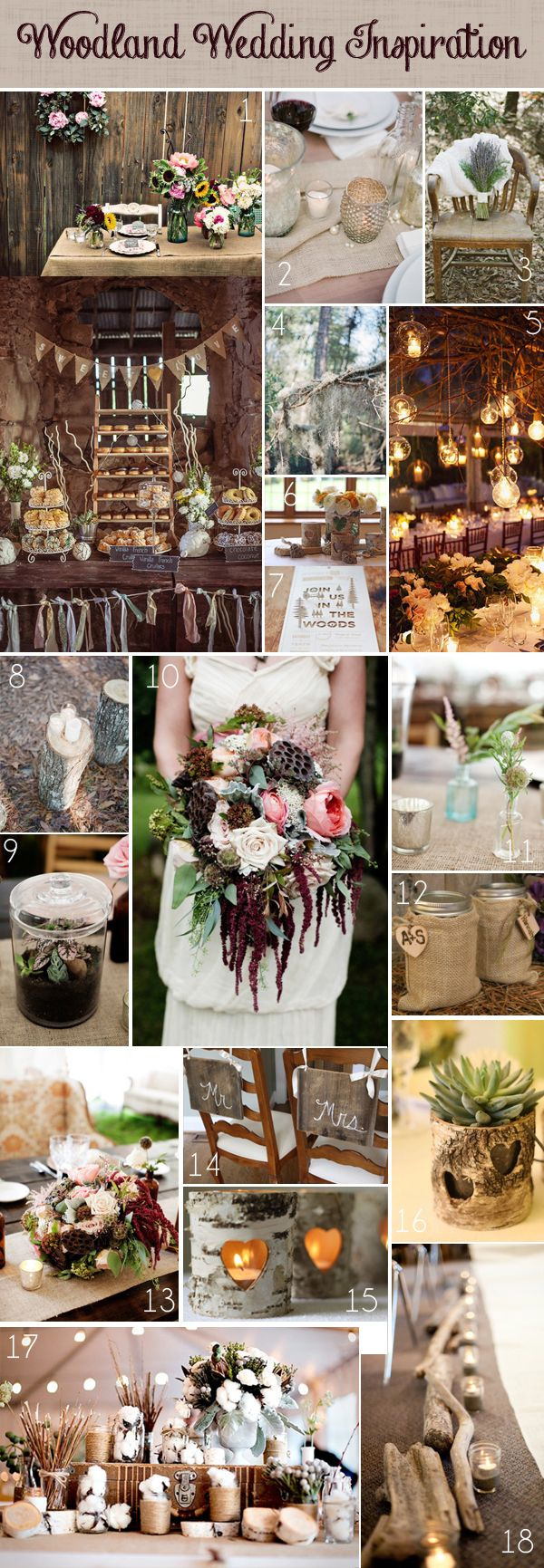 Wedding decorations natural  Woodland Wedding Ideas  Wedding tables Table decorations and