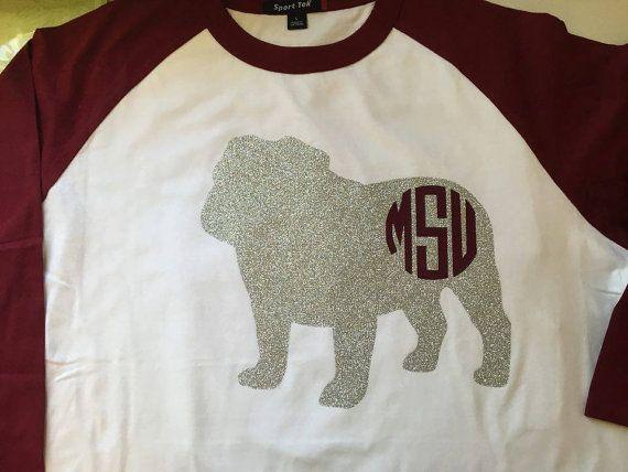 Mississippi State Bulldog Raglan Baseball Shirt Mississippi State Bulldogs Vinyl Shirts Mississippi State