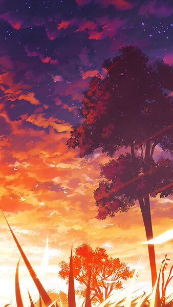 Anime Sunset Scenery Trees 4k Click Image For Hd Mobile And Desktop Wallpaper 3840x2160 1920x108 Scenery Wallpaper Anime Scenery Anime Scenery Wallpaper