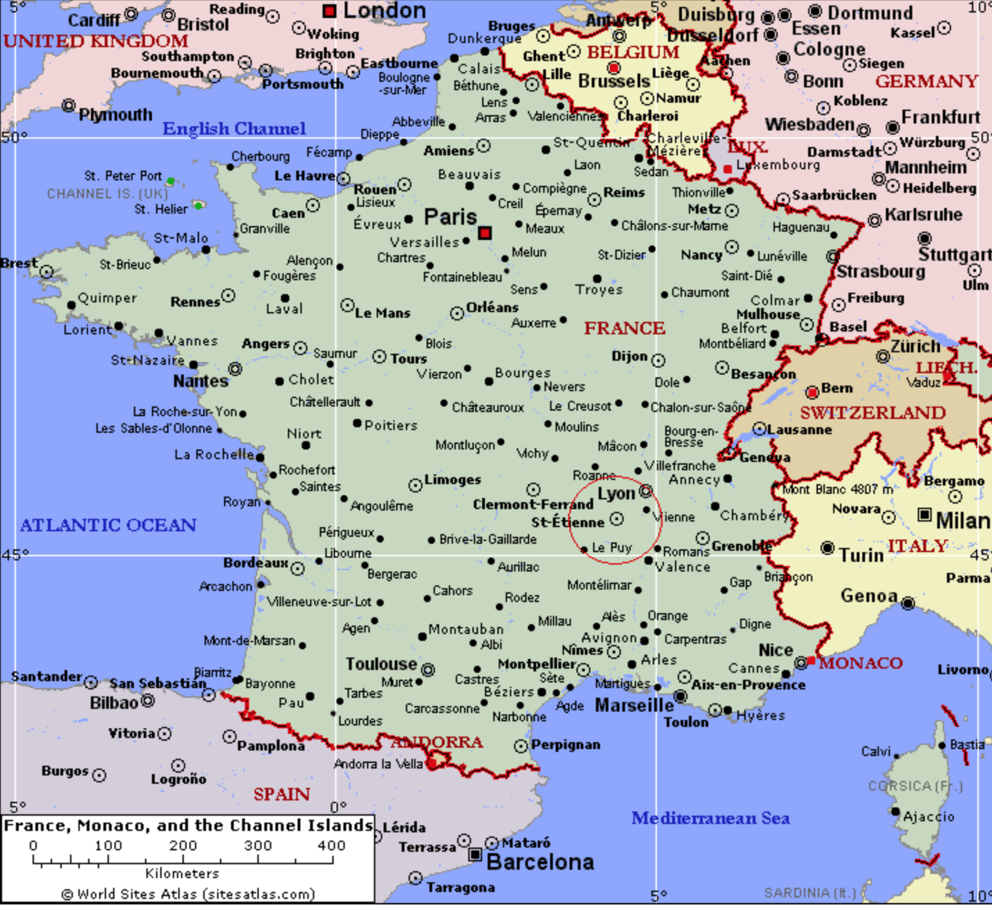 Map France And Italy Southern