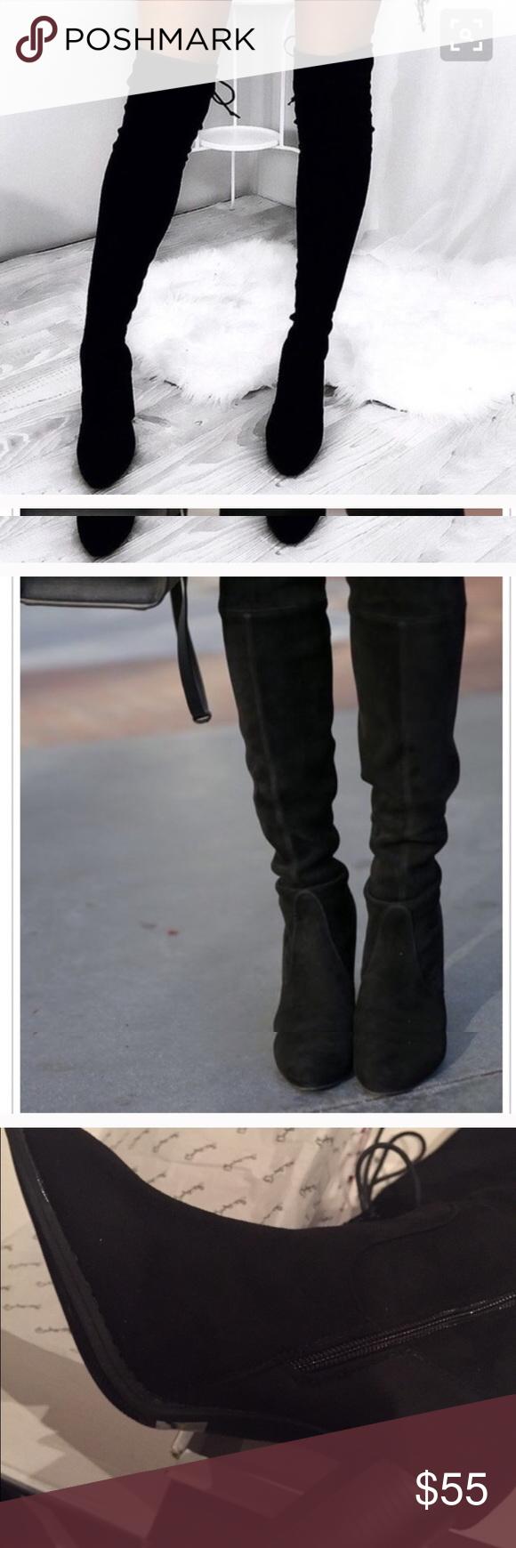 97d1495b782 Over the knee faux suede black lacks up boots Boutique