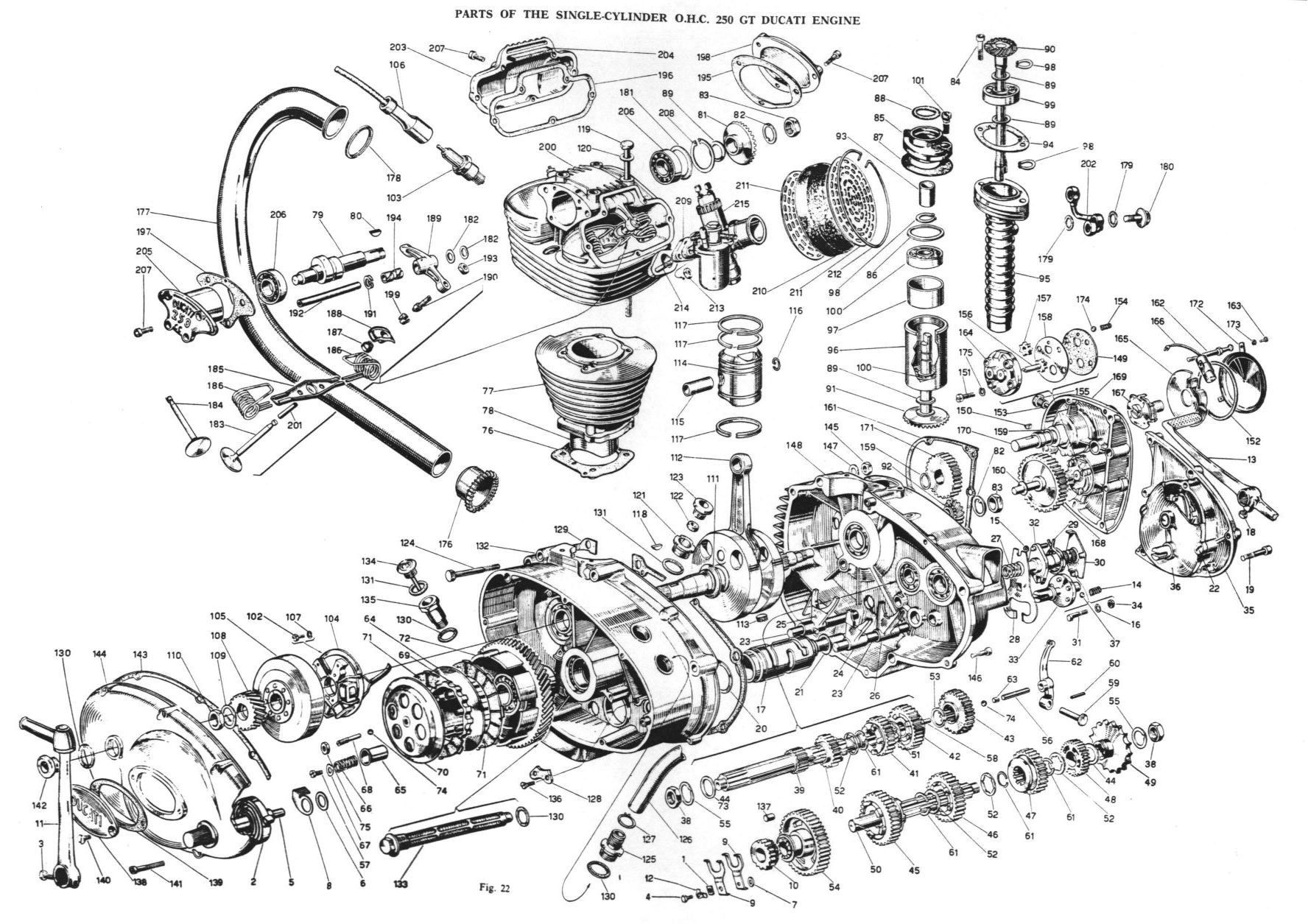exploded view of a single cylinder ducati engine   product :: deconstruct   Motorcycle