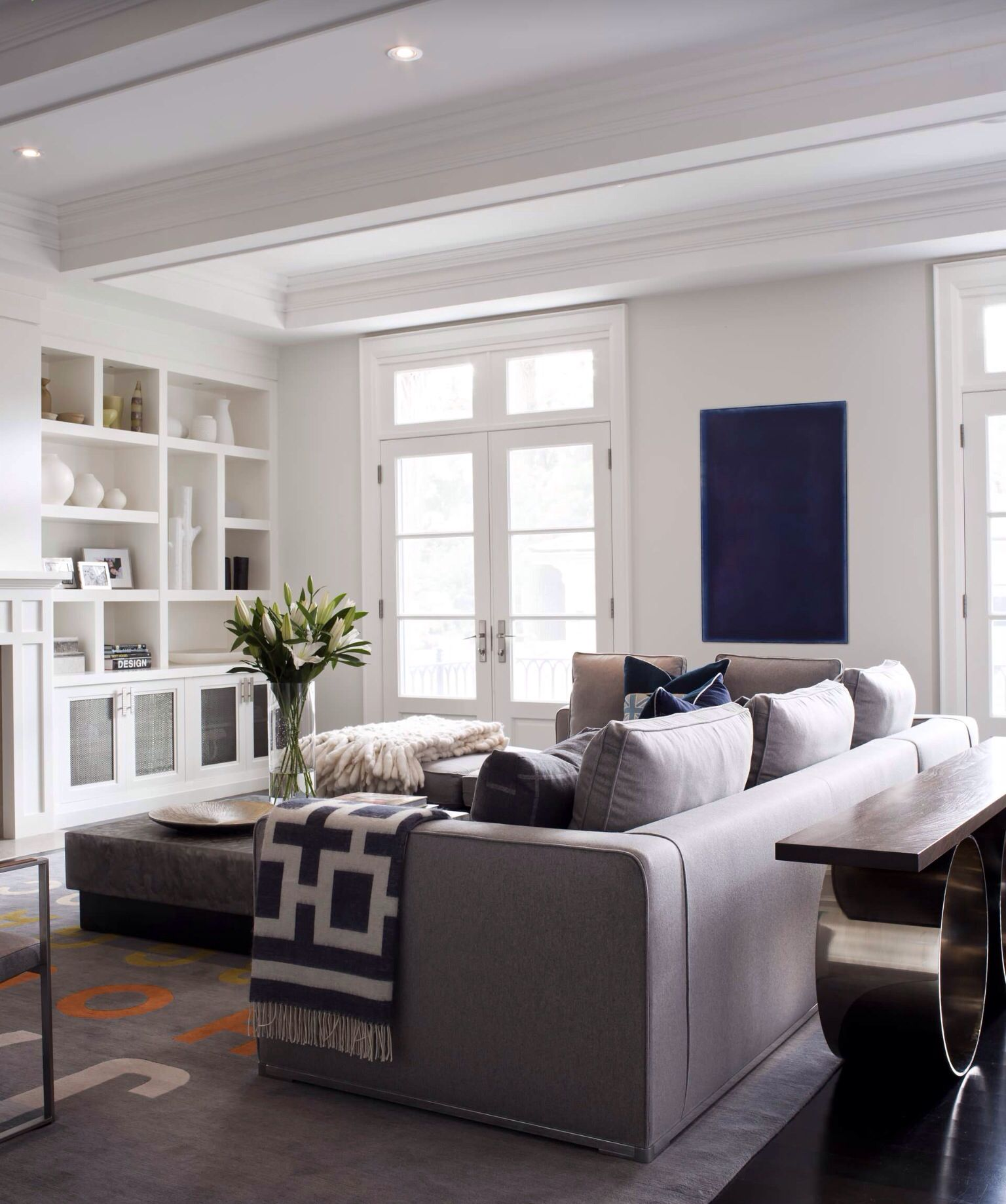 Wooden Wall Units For Living Room: Love The White Built-in Tv Wall Unit / Shelves .. Modern
