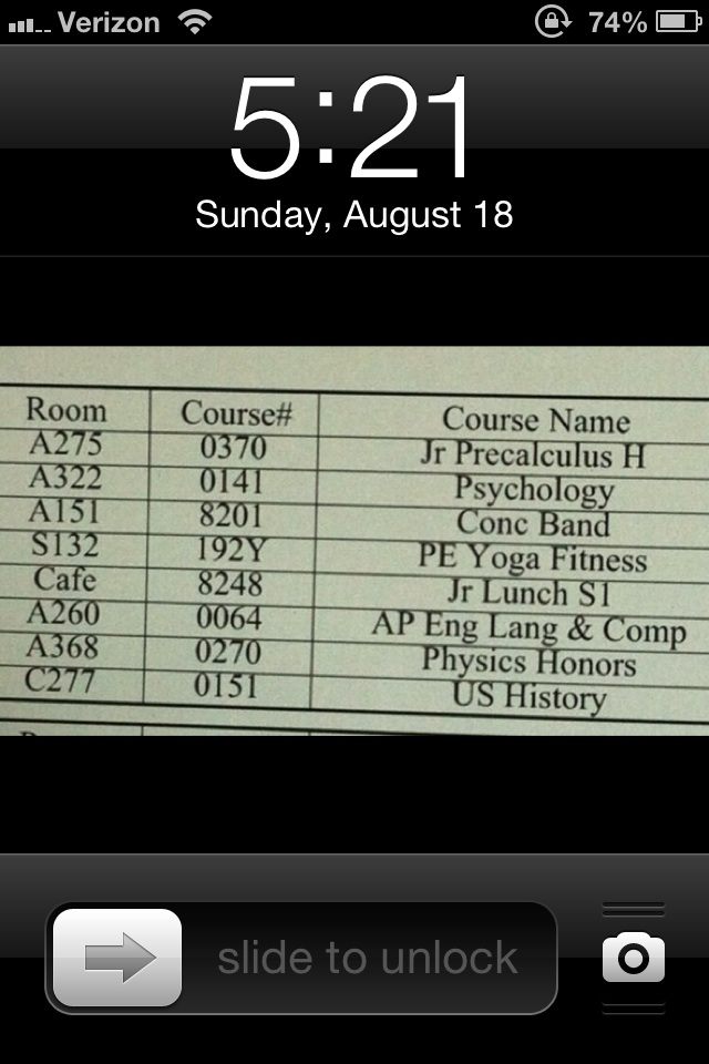 make your lockscreen your class schedule for the first few weeks