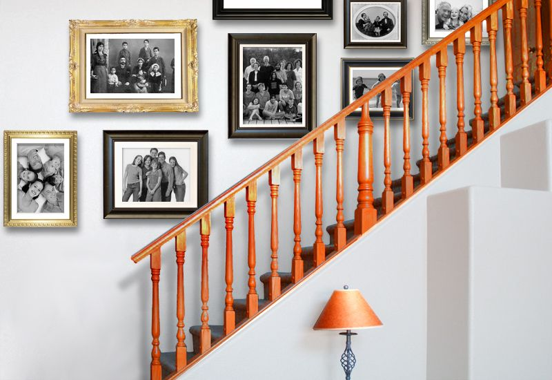 Three Looks To Hang Picture Frames In A Staircase