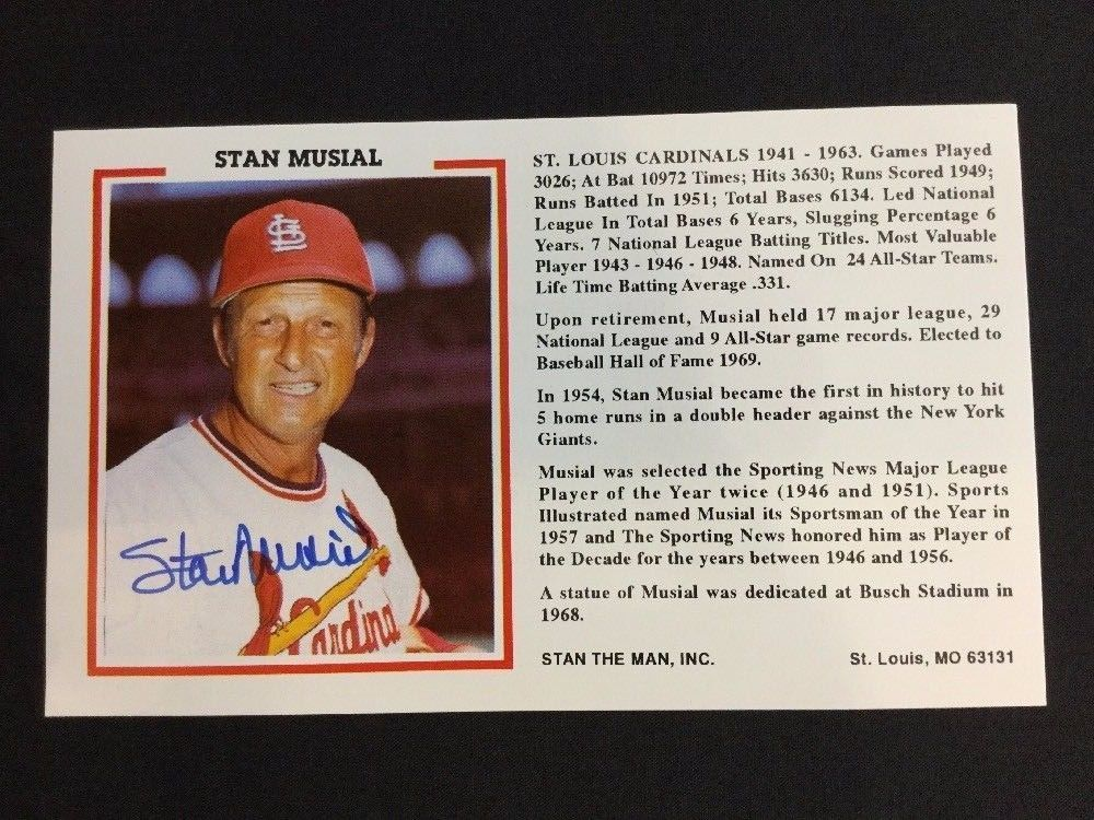 Stan Musial Autographed Stan The Man Card Lifetime Guarantee Hall Of Fame Stlouiscardinals Stan Musial Autograph Baseball