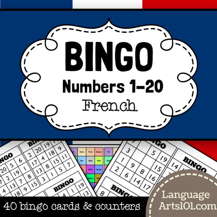 Bingo numbers 1-20 French | French language teaching resources ...