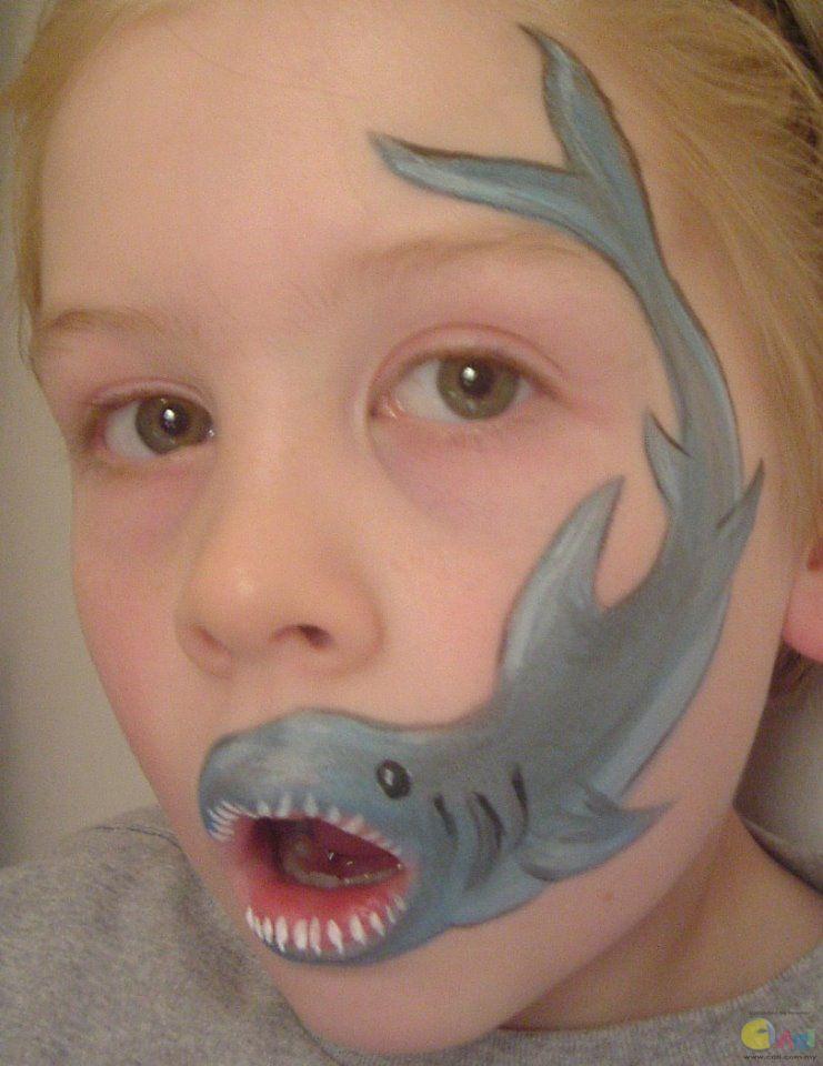 kinderschminken vorlagen hai