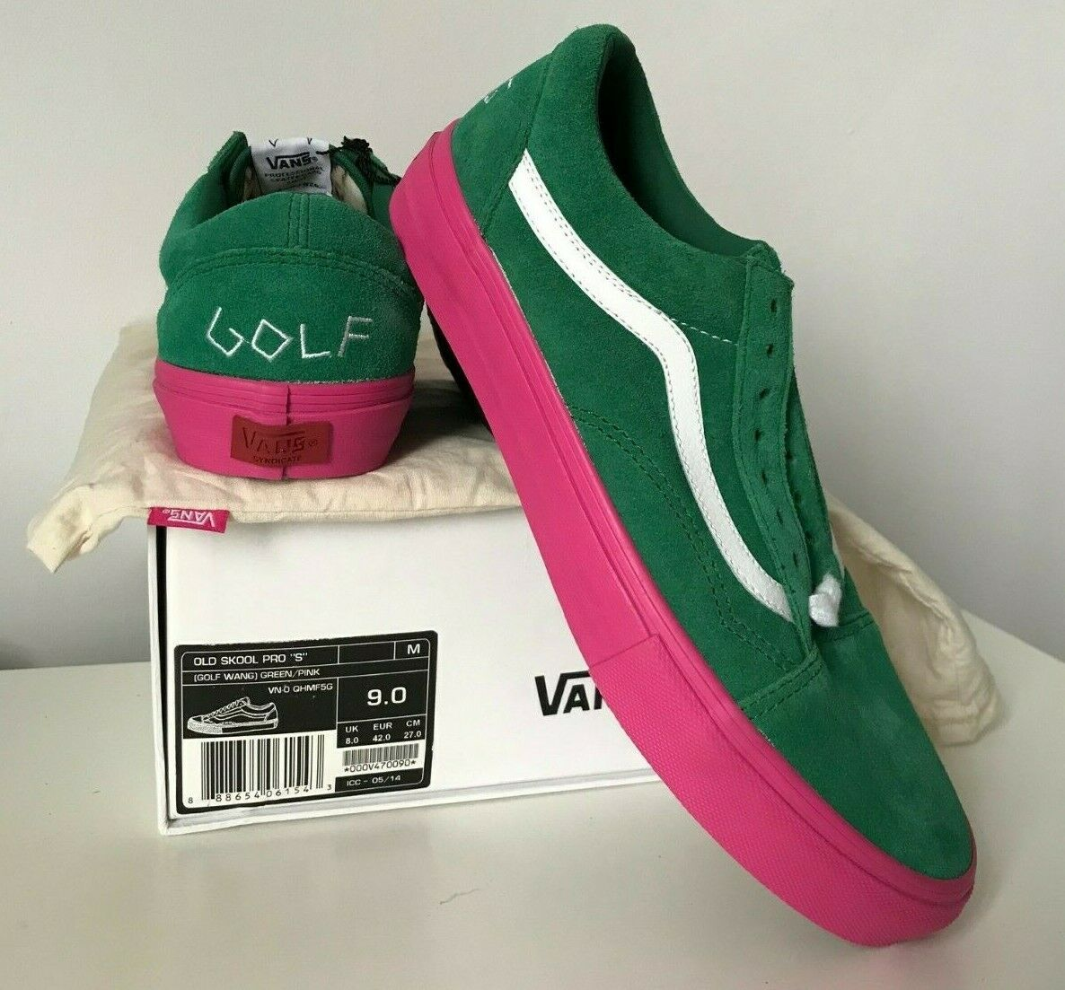 5cabcd06c6bd2a Vans Syndicate Golf Wang   Odd Future Old Skool Green Pink DS US 9   UK 8