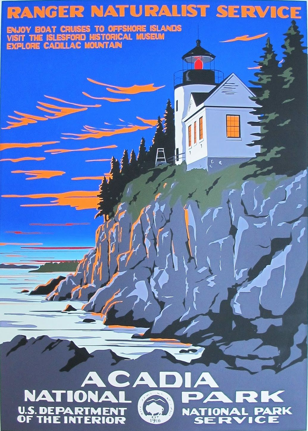 Acadia National Park Ranger Naturalist Service Wpa Poster National Park Posters Vintage Travel Posters Retro Poster