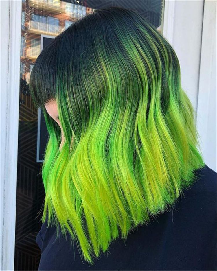 Gorgeous Green Hair Color Ideas You Will Love To Try This Summer Green Hair Green Hair Color Hair Color Ideas Neon Green Hair Hair Styles Green Hair Ombre