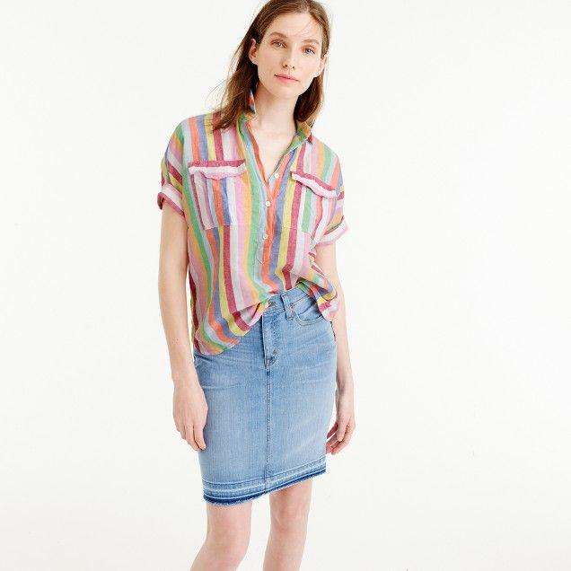 2a2b451c7 Short-sleeve popover shirt in candy stripe | To Wear | Denim skirt ...