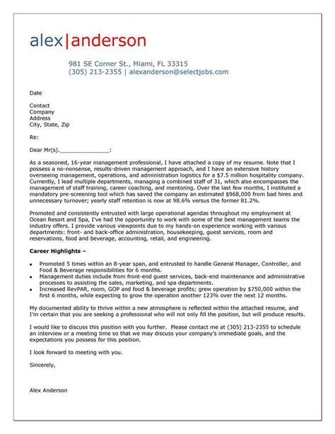 Cover Letter Example for Hospitality Manager to do Pinterest - cover letter examples for teachers