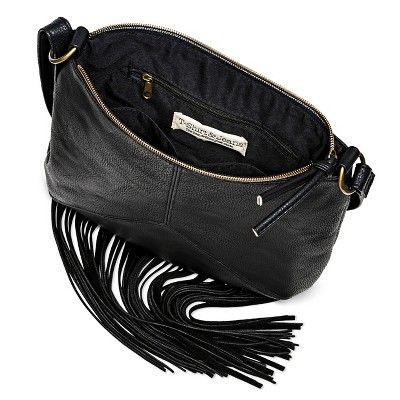 T-Shirt & Jeans Women's Faux Leather Crossbody Handbag with Zipper Closure and Fringe - Black