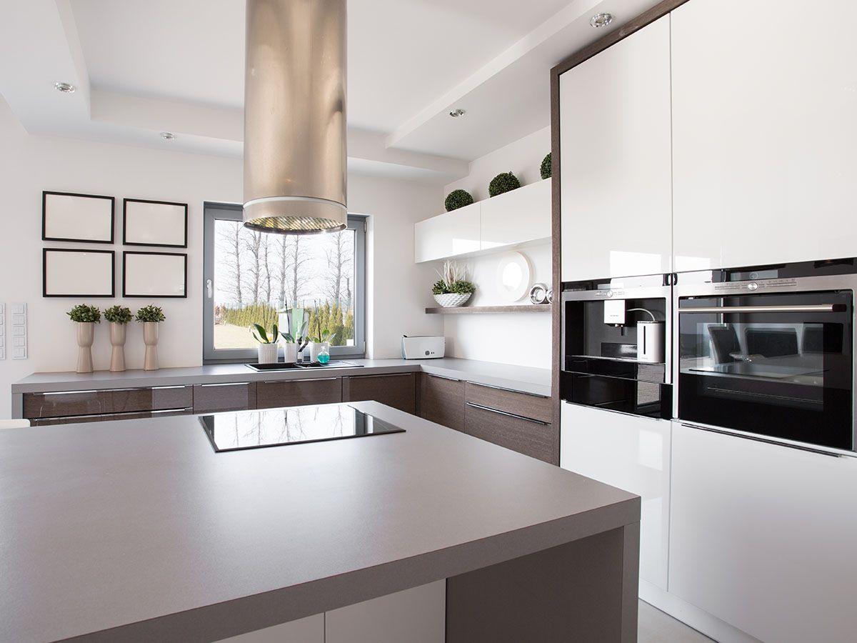 Hollywell kitchen Grey island window splashback integrated coffee machine. & Hollywell kitchen: Grey island window splashback integrated ...