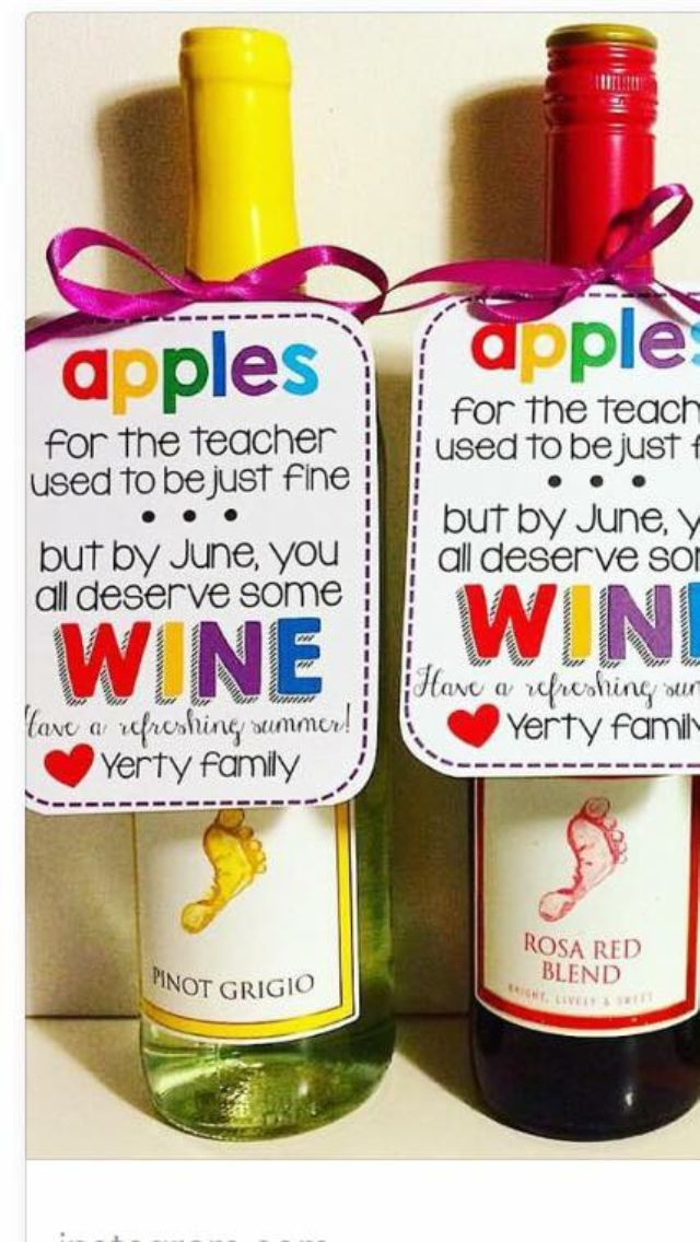 Teacher wine labels, free printable Teacher Gift Idea
