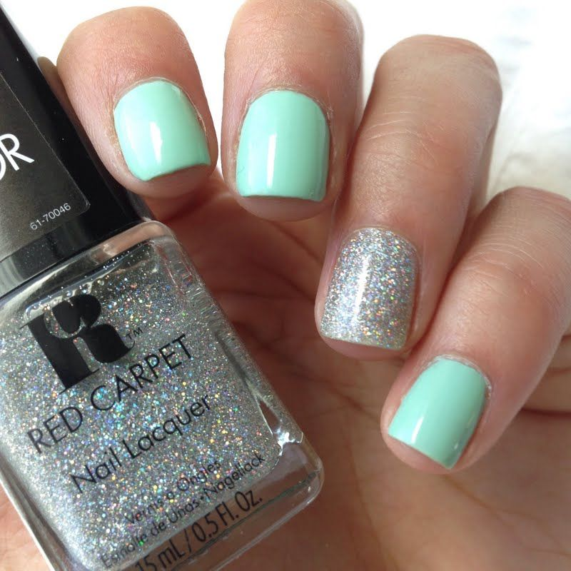 Mint nails with Holo-glitter accent nail | All About Nails ...