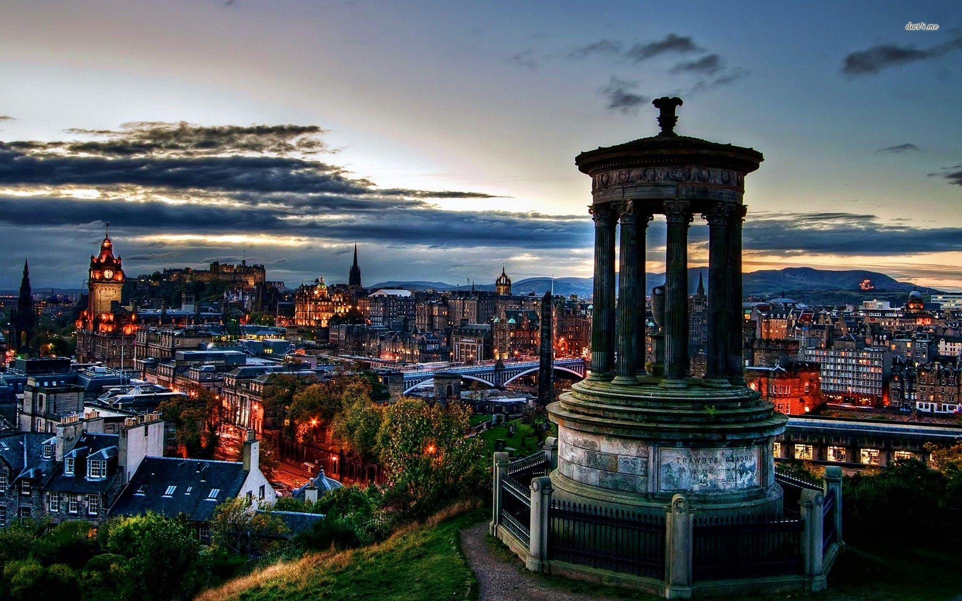Обои Облака, эдинбург, Шотландия, свет, дома. Города foto 10