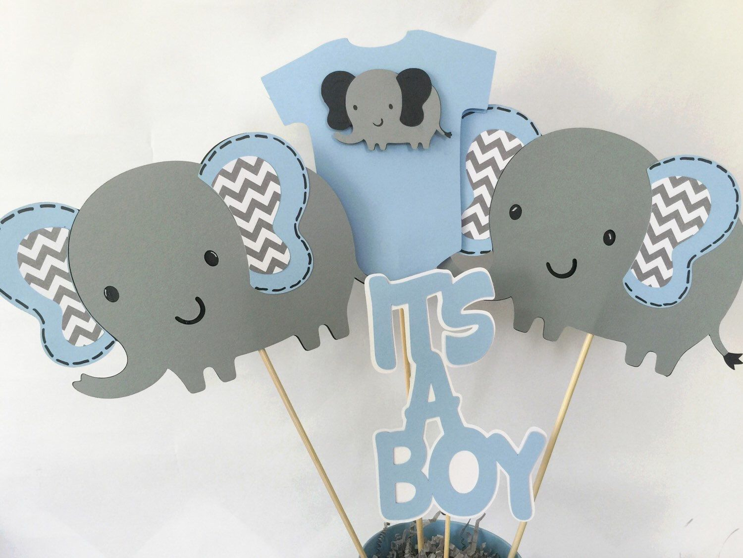 elephant baby shower centerpiece in blue and gray elephant theme baby