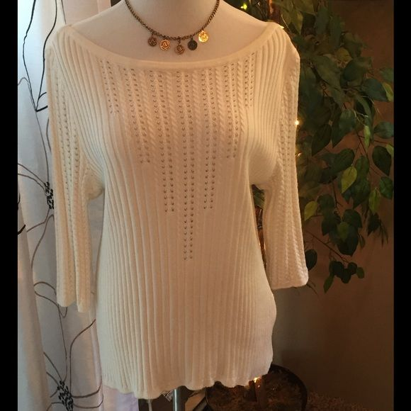 NEW St John Ivory 3/4 Sleeve Scoopneck Gorgeous ivory (almost white) scoopneck knit with detailed crochet knit on chest and sleeves. St. John Sweaters Crew & Scoop Necks