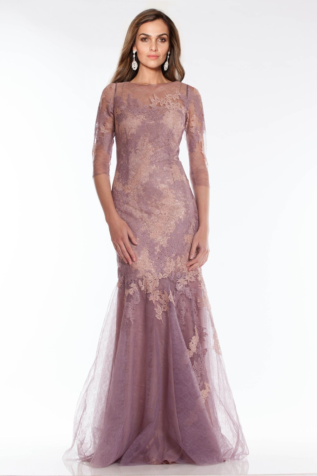 Mauve 3 4 Sleeve Lace and Tulle Gown  c3a0489b28d5