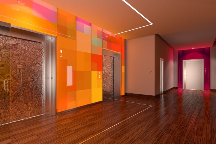 Elevator lobby features a colorful glass panel