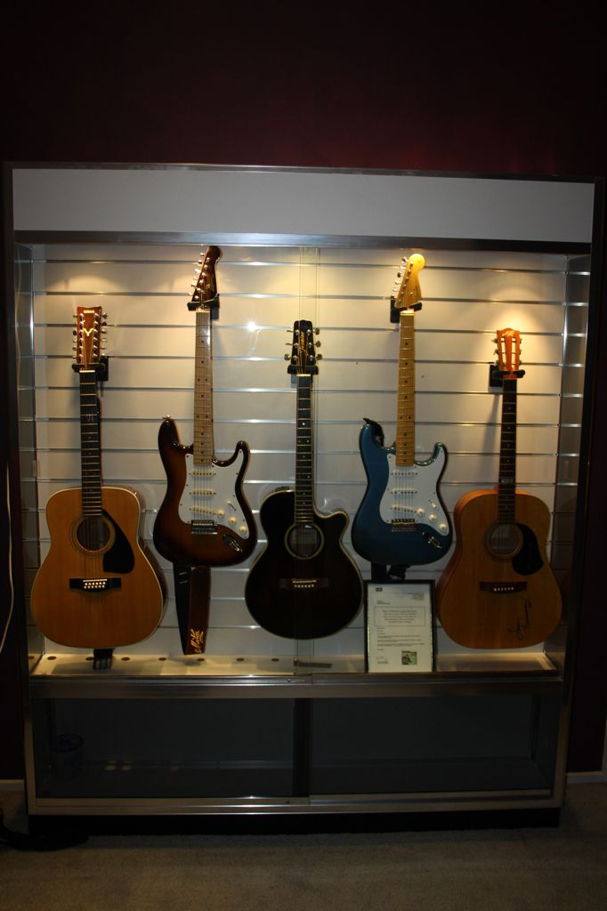 My Guitar Display Cabinet, Created From A Commercial Slat Wall Display  Cabinet And 5 X Hercules GSP39SB Guitar Hangers.