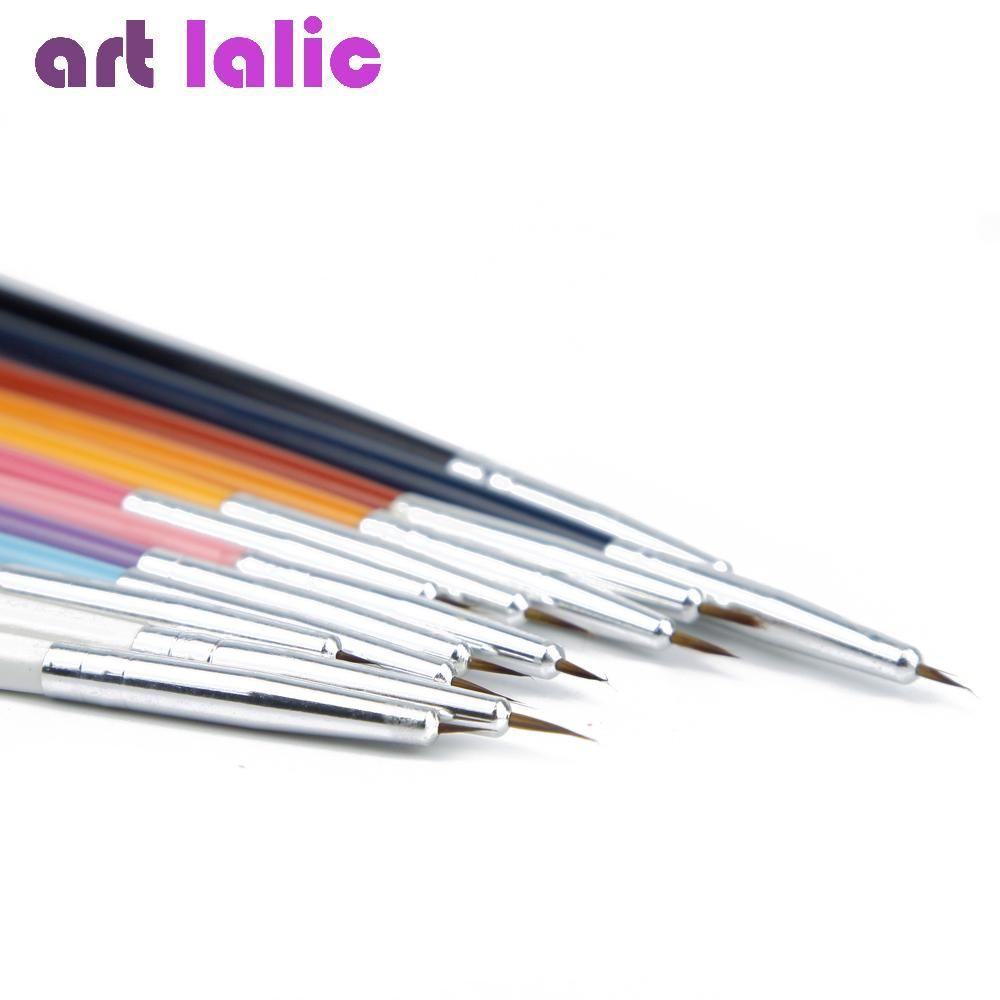 New 12 Pcs Nail Art Design Brush Brushes Pen Fine Details Liner Tips